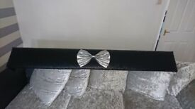 Black glitter pelmet with silver glitter bow