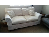 Cream, Cotton Covered Sofa Bed. Cover removable for easy washing. Good Condition.