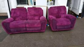 Gorgeous violet fabric reclining sofa set