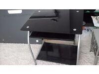 Black glass amd metal hih gloss computer desk,