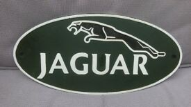 "JAGUAR CAR GREEN CAST IRON METAL SIGN - BRAND NEW - 14"" ( 36cm ) long x 7"" ( 17 cm ) at widest point"