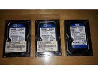 3 x 500 GB SATA Desktop pc hard drives Western Digital WD5000AAKX