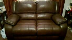 2 seater leather recliner sofa and 2 matching chairs