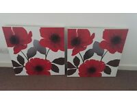 2 x Poppy canvases for sale.