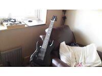 harley benton left handed electric 7 string guitar black