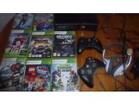Xbox 360 with 2 controllers, headphones and 9 games
