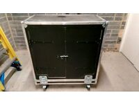 NSP flight case with castors and built in racking (106 x 120 x 56 cm)