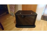 Black TV Stand with magnetic door and shelf