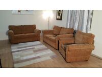 Furniture Village fabric pair of 2 seater sofas and armchair