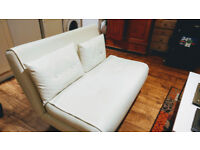 Classic white leather sofa bed