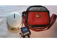 Sony D-NE511 CD Walkman Discman- MP3 / ATRAC3 CD Player with CaseLogic Case Wall Adapter Immaculate