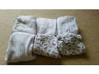 Job lot of 6 baby muslin cloths