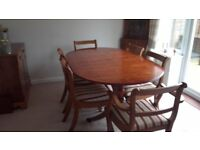 Dining table (extendable) & 6 chairs, sideboard, corner, display cabinet & side table in yew finish