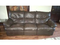 1x3 seater plus 1x2 seater recliner leather sofas and matching armchair