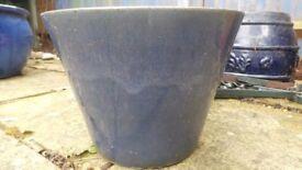 Blue ceramic glazed plant pot 30cm