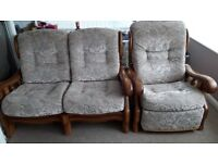 Two seater sofa and a single recliner chair