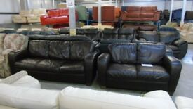 PRE OWNED Natuzzi 3 Seater + 2 Seater in Brown Leather