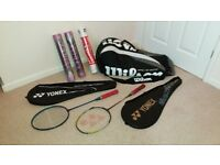 2 BADMINTON rackets + cases, kit bag, shuttlecocks YONEX, SLAZENGER, WILSON, YEHLEX, TOURNEY