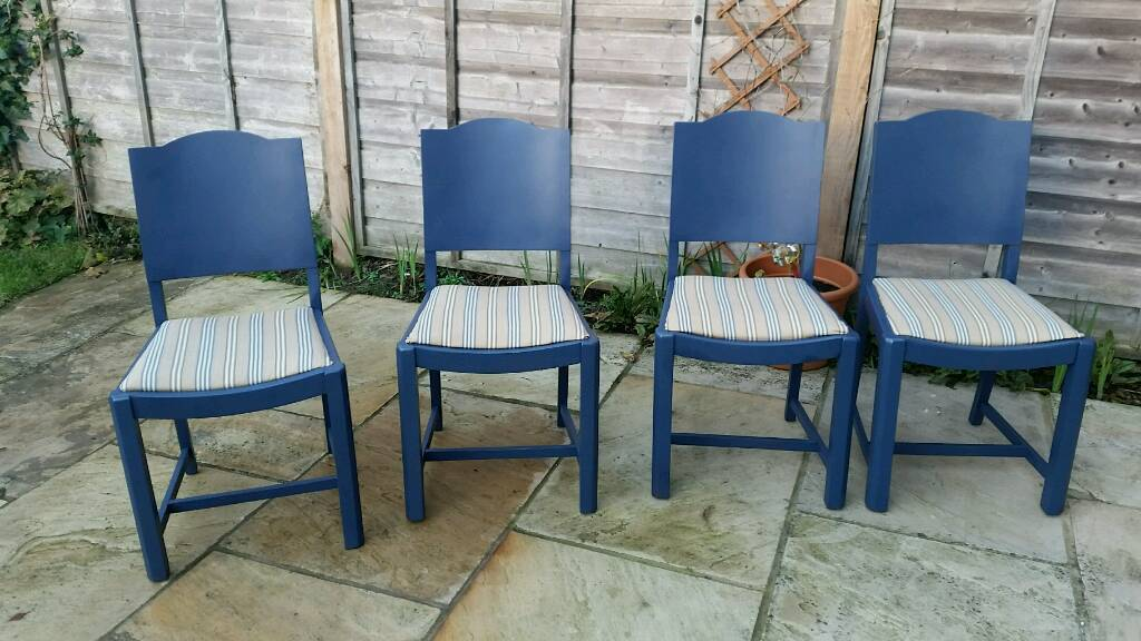Navy wooden dining chairs shabby chic x 4