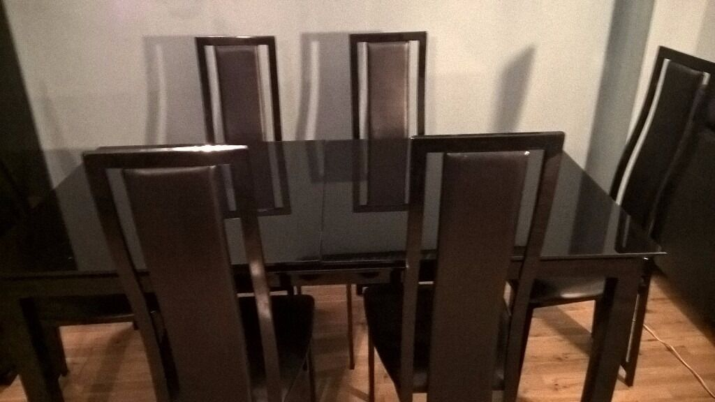 Black Dining Table 6 Chairs For Sale