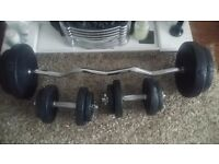 45kg of gorilla weights with bar and dumbells.