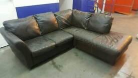 Brown leather L shape sofa