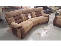 ScS CURVE BROWN 4 SEATER ELECTRIC RECLINER SOFA **CAN DELIVER**
