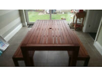 Patio Table and 2 benches.