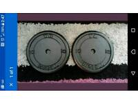 2 x 10kg York metal weight plates