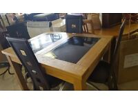 Modern Solid Wood & Marble Dining Table & 4 High Back Leather Chairs