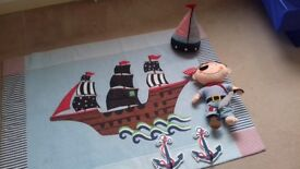 Laura ashley childrens pirate rug, door stop, pirate and 2 anchor wall hooks and light shade