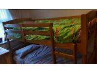 Solid pine bunk bed with matresses