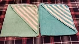2 cotton hooded kids bath towel