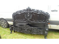 King Size French Rococo Style Bed - carved & Black