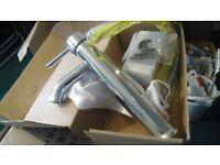 New, Boxed, large chrome mixer taps