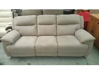 Ex Furniture Village 3 Seater Electric Recliner Sofa in Grey Saddle Leather **CAN DELIVER**