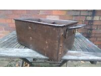 VERY OLD HEAVY RIVETED STEEL CENTER PARTITION 2 HANDLES RUSTIC INDUSTRIAL STORAGE CONTAINER KITCHEN