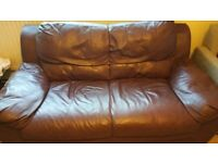 Two 2 seater Venice Wine colour leather Regular Sofa