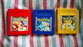 Pokemon Red, Blue and Yellow GB GBC game bundle