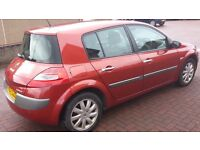 2007 Metallic Red Petrol Renault Megane 1598cc 88500 miles Mot'd end of April 2017.