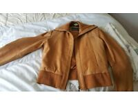 Mens tan leather bomber jacket XXL