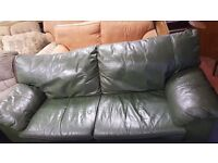 Green Two and Three Seater Real leather Sofa - Good Condtion