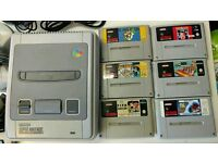 SNES Bundle Super Nintendo Console & 6 games with 2 controllers