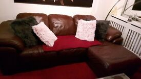 genuine italian leather sofa + large chair £225 ONO