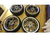 """Dotz Fast 7 Seven 19"""" Alloy Wheels 4 Set With Tyres"""