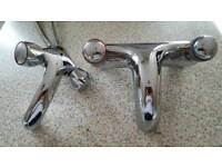 Wash basin and bath mixer taps. Both in good condition and working order