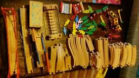 Large bundle of brio and other compatible track, trains and accessories