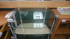 Small clear glass 3 tier TV display unit