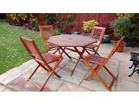 Patio 4 Seater Wooden Dining Set