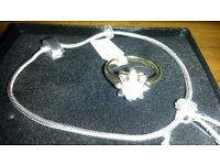 14 pairs of Giani gold plated ring and silver snake chain for sale